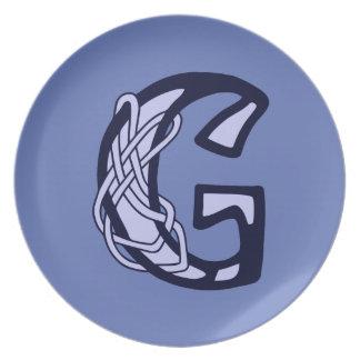 Celtic Knot letter initial monogram G Melamine Plate