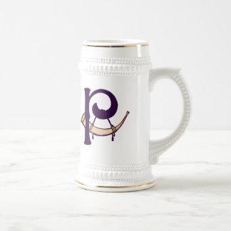 Celtic Knot letter initial monogram P Beer Stein