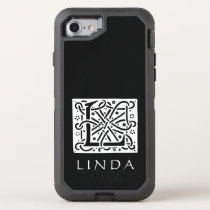 Celtic Knot Letter L Monogram with Your Name OtterBox Defender iPhone 7 Case