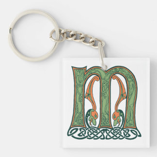 Celtic Knot Letter M, Irish Design Single-Sided Square Acrylic Keychain