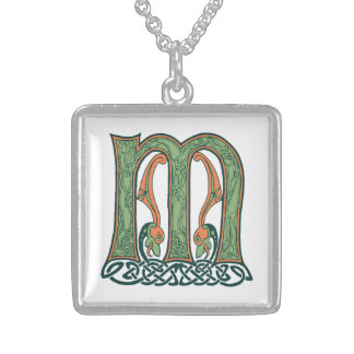 Celtic Knot Letter M, Irish Design Square Pendant Necklace