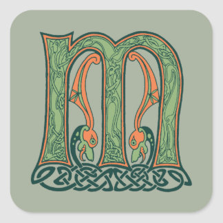Celtic Knot Letter M, Irish Design Square Sticker