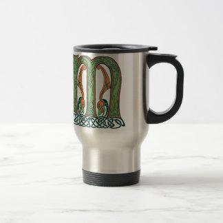 Celtic Knot Letter M, Irish Design Travel Mug