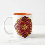 Celtic Knot Medallion Mug_ warm tones_ARD Two-Tone Coffee Mug