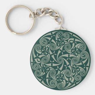 Celtic Knot Medallion Round Design, Irish Artwork Keychain