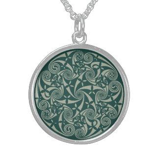 Celtic Knot Medallion Round Design, Irish Artwork Round Pendant Necklace