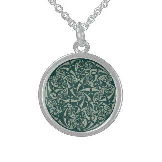 Celtic Knot Medallion Round Design, Irish Artwork Sterling Silver Necklace