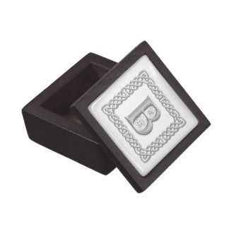 Celtic Knot Monogram Silver Effect Letter B Box Premium Jewelry Boxes