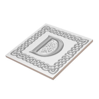 Celtic Knot Monogram Silver Effect Letter D Tile