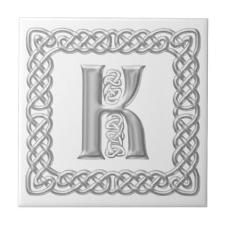 Celtic Knot Monogram Silver Effect Letter K Tile