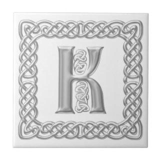 Celtic Knot Monogram Silver Effect Letter K Tile