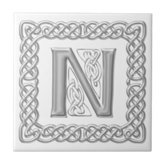 Celtic Knot Monogram Silver Effect Letter N Tile