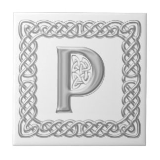 Celtic Knot Monogram Silver Effect Letter P Tile