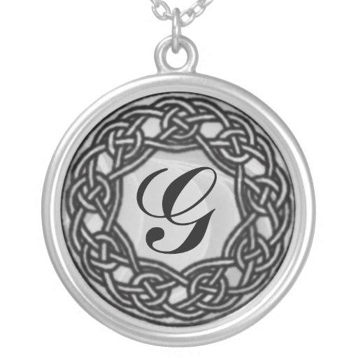 Celtic Knot Monogram Silver Necklace