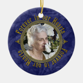 Celtic Knot Navy Blue Memorial Photo Christmas Double-Sided Ceramic Round Christmas Ornament