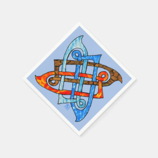 Celtic Knot of the Elements - Earth Air Fire Water Paper Napkin