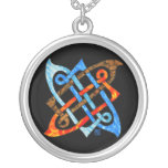 Celtic Knot of the Elements-Earth,Air,Fire,Water Silver Plated Necklace