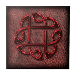 Celtic knot on genuine leather ceramic tile