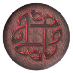 Celtic knot on genuine leather plate
