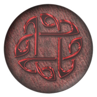 Celtic knot on genuine leather party plates