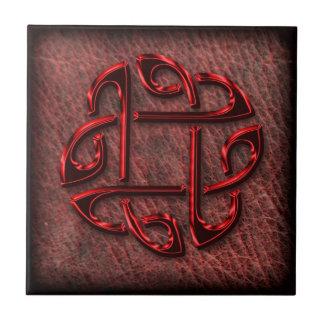Celtic knot on genuine leather ceramic tiles