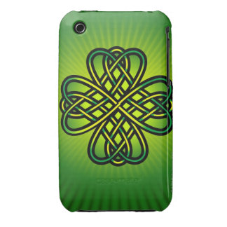 Celtic Knot on green glow iPhone 3 Case