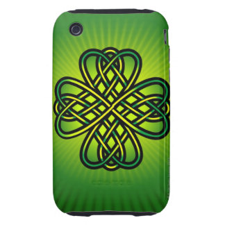 Celtic Knot on green glow Tough iPhone 3 Case