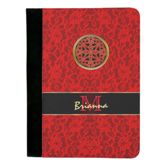 Celtic Knot on Red Lace Personalized Padfolio