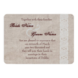 Celtic Knot On Rustic Burlap Irish Traditional Card at Zazzle