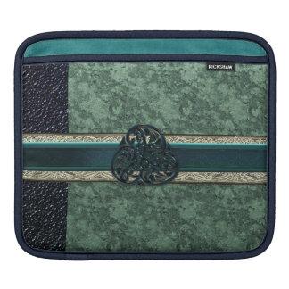 Celtic Knot on Two-Tone Green Brocade iPad Sleeve