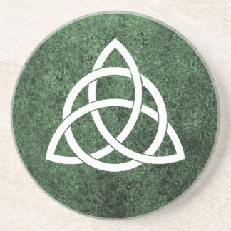 Celtic Knot over Green Granite Sandstone Coaster