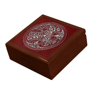 Celtic Knot Red Birds & Silver-Gift Box
