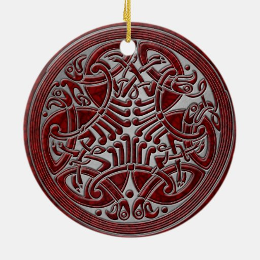 Celtic Knot Red Birds & Silver-Ornament Double-Sided Ceramic Round Christmas Ornament