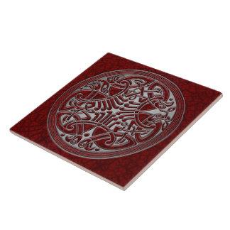 Celtic Knot Red Birds & Silver-Trivet Tile