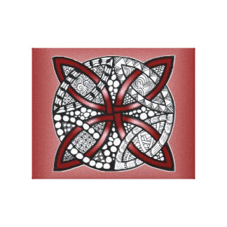 Celtic Knot Red Doodle Drawing Canvas Print