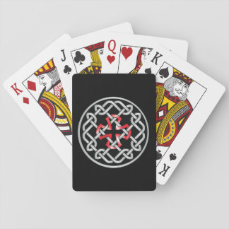 Celtic Knot Red Metallic Playing Cards