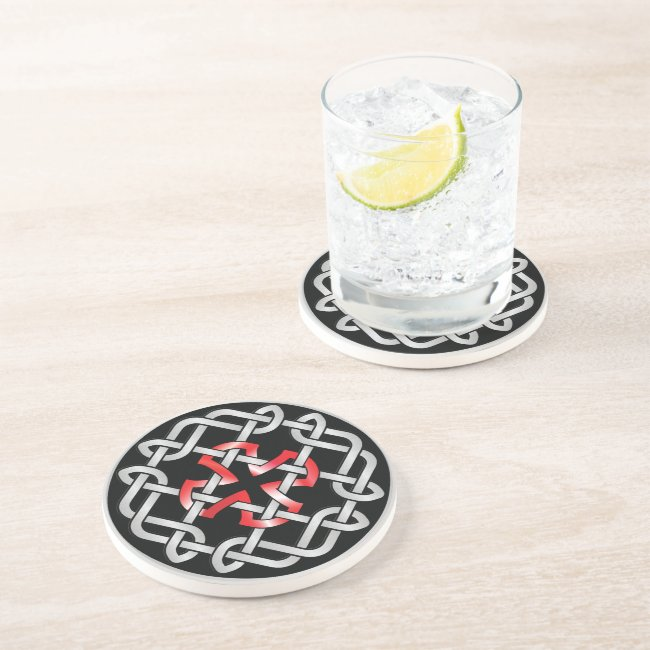 Celtic Knot Red Metallic Sandstone Drink Coaster