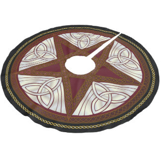 Celtic Knot Red Pentagram Yuletide Tree Shirt Brushed Polyester Tree Skirt