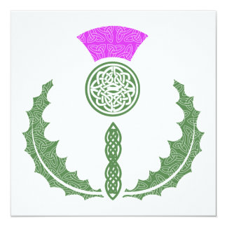 "Celtic Knot Scottish Thistle Save the Date 5.25"" Square Invitation Card"