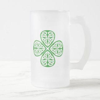 Celtic Knot Shamrock Frosted Glass Beer Mug