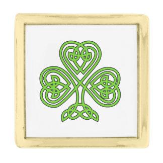 Celtic Knot Shamrock Gold Finish Lapel Pin