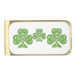 Celtic Knot Shamrock Gold Finish Money Clip