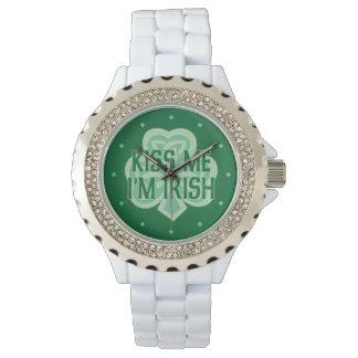 Celtic Knot Shamrock Kiss Me I'm Irish Wrist Watch