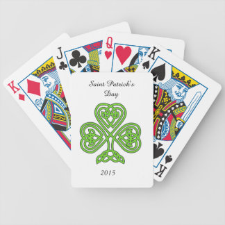 Celtic Knot Shamrock on White Bicycle Playing Cards