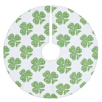 Celtic Knot Shamrock on White Brushed Polyester Tree Skirt