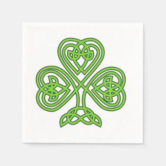Celtic Knot Shamrock on White Napkin
