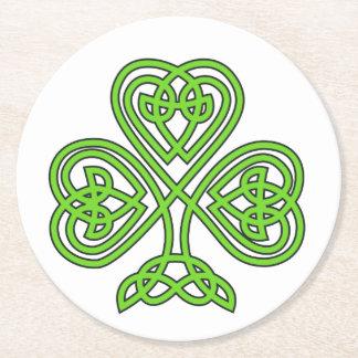 Celtic Knot Shamrock on White Round Paper Coaster