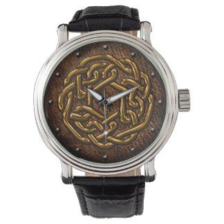 Celtic knot shiny golden on leather digital art wristwatch