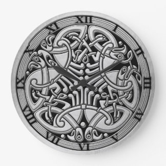 Celtic Knot Silver Birds & Black-Rnd. Clock