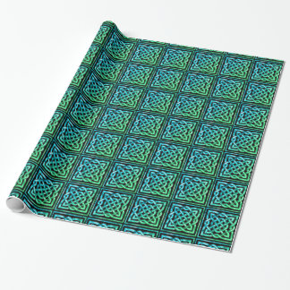 Celtic Knot - Square Blue Green Design Wrapping Paper